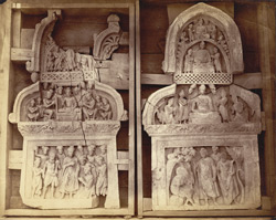 Two sculpture 'chapels' or niches, one representing Buddha meeting an ascetic (Gaya-Kashyapa?), from Jamal-Garhi. 1003992